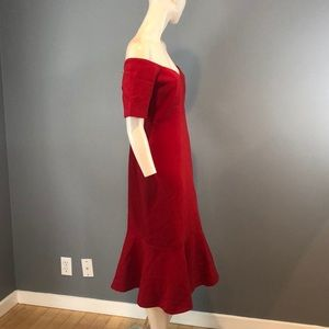 cinq a sept Dresses - NWT Cinq a Sept Red Off Shoulder Maxi Dress Sz 12